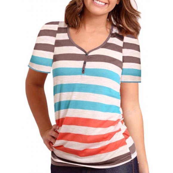 Tops - Striped Button Embellished Tee